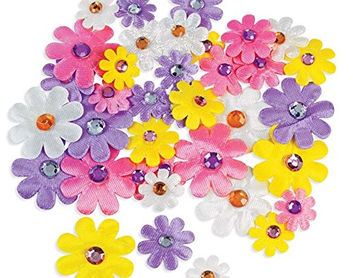 36 Assorted Self-Adhesive Fabric Daisy Shapes with Jewel -