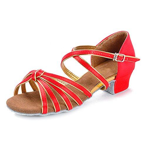 YFF Ballroom Tango Latin Dance Schuhe hohe Absätze tanzen für Kinder mädchen kinder Frauen Damen, rote Knoten, 5.