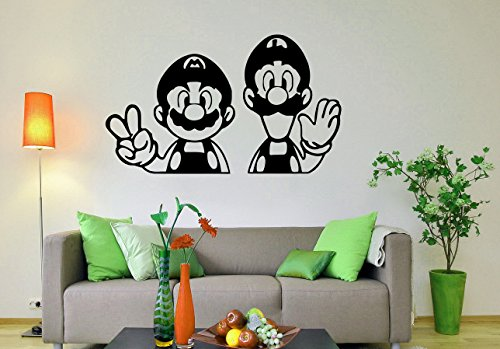 (Super Mario Wall Decal Video Game Hero Vinyl Sticker Retro Games Home Interior Removable Wall Murals Housewares 4(smb))