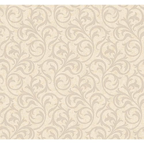 York Wallcoverings Beige Book Petite Scroll Wallpaper Memo Sample, 8 by 10-Inch, Beige/Silver
