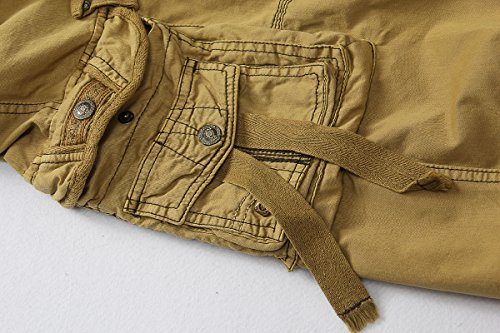 Yin Chen Mens Casual Slim Fit Cotton Solid Multi-Pocket Cargo Shorts,1-khaki,Size 34