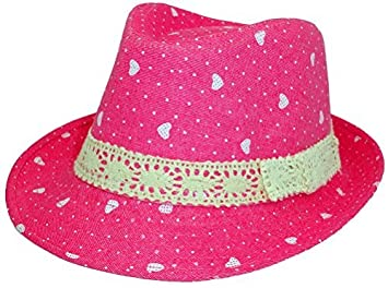 23e2e5083e7 Amazon.com   Subtle Addition Little Girls Fedora Hats for Kids (Pink w  Hearts) Color  Pink w Hearts Model  Baby