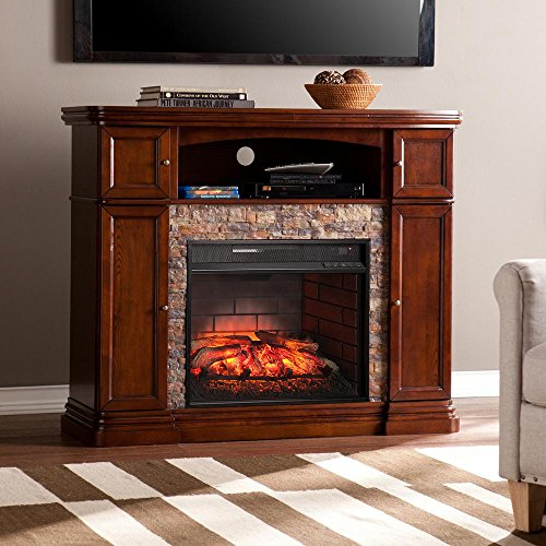 (Southern Enterprises Westchester 47.5 in. W Faux Stone Infrared Electric Media Fireplace in Espresso)
