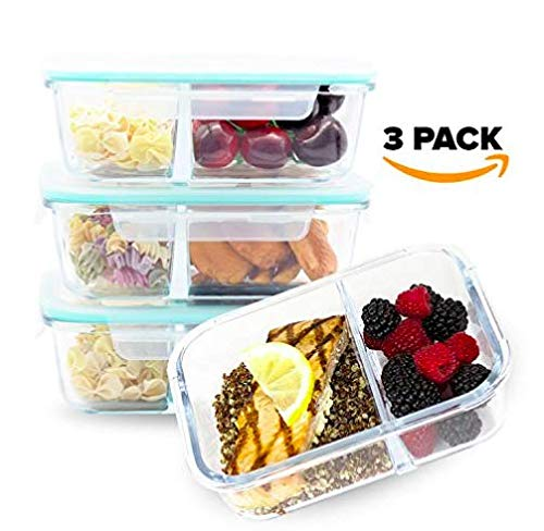 [Large Premium 3 Pack] 2 Compartment Glass Meal Prep Containers w/ New Divider Seal Tech Best Quality Snap Locking Lids Airtight, Glassware Set, Bento Box, BPA-Free (40oz Dry W/Lid on)