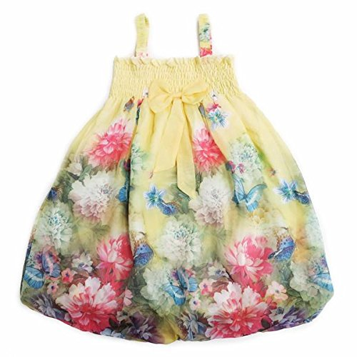 Brand New 2019 Girls Pink bow Floral Spanish Romany Sleeveless Dress 3y 4y