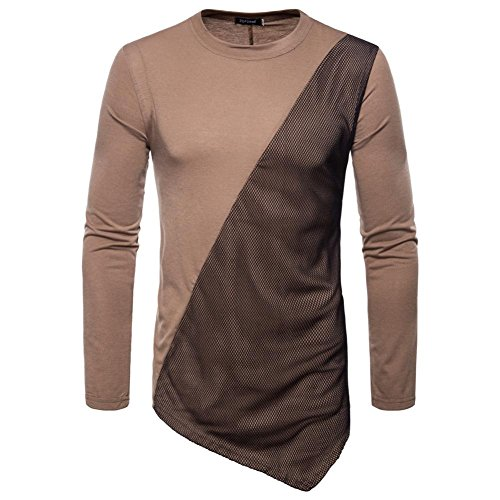 kaifongfu Men's Long Sleeve Top,Panel T-Shirt for Men Top Sleeved Sweatshirts Tops(Coffee,M)