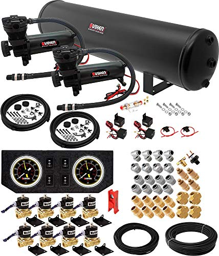 Vixen Air 5 Gallon (18 Liter) Steel Air Tank with Dual 200 PSI Black Compressor, Valves, Gauges, Fittings and Hoses Suspension Onboard System/Kit VXX1208GW/4852DC