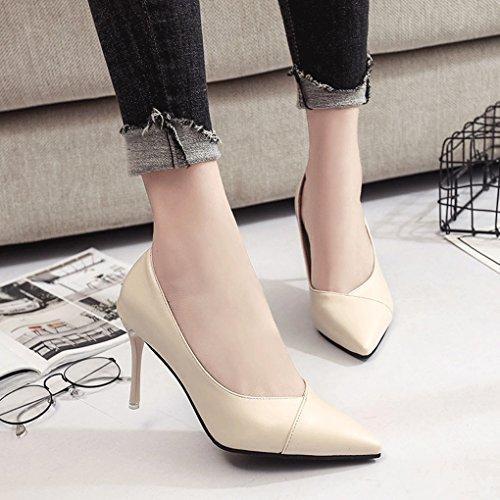de Primavera Talón Boca Tacón Delgado Zapatos Acentuado Alto 8cm Otoño LBDX Zapatos de Baja Beige Mujer y Sexy ZPxgqw