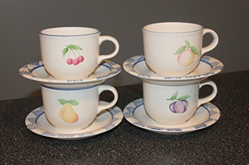 "Pfaltzgraff Hopscotch USA Set of 4 - CUP and SAUCERS All 4 Fruits 3"" Excellent Condition"