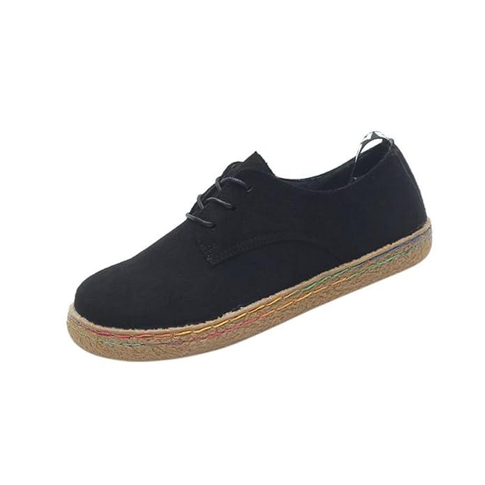 Women Martin Boots Shoes, SOMESUN Signore delle donne morbido piatto caviglia Martin scarpe femminili Suede Flock Lace-Up Boots (42, Brown)