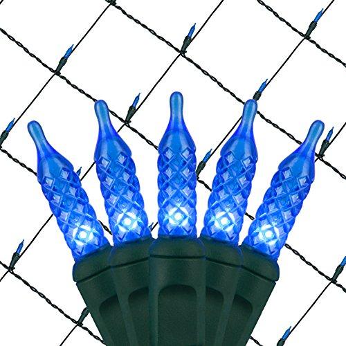 Wintergreen Lighting LED Net Lights Outdoor LED Holiday Lights Net, Outdoor Decorative Lights Christmas Net Lights, Hedge Christmas Lights, Set of 100 (4 x 6 ft, M5 Lights, Blue)