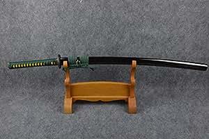 Fully Hand Forged Clay Temper Practical Black Green Tree Katana Sword