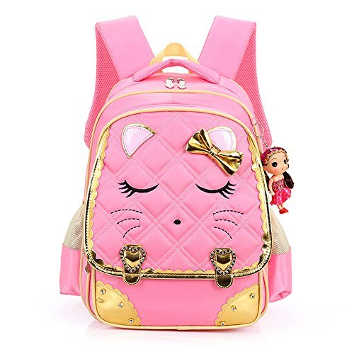 Hyundly Cute Cat Face Bowknot Teen Girls School Backpacks For Primary School Bookbag (Large, pink1)
