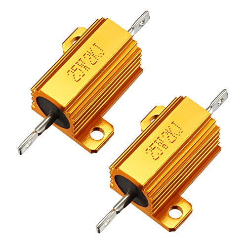 - uxcell 25W 2k Ohm 5% Aluminum Housing Resistor Screw Tap Chassis Mounted Aluminum Case Wirewound Resistor Load Resistors Gold Tone 2 pcs