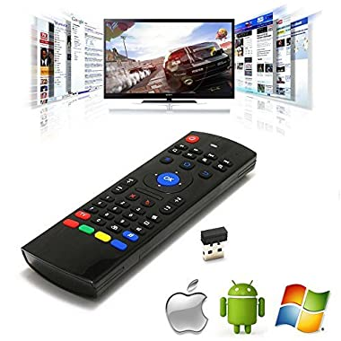 Fly Mini Mouse Keyboard, Megadream 2.4G Wireless 3-Gyro 3-Gsensor 4 in 1 with Mouse +Keyboard +Learning Infrared Remote Control +Voice Microphone for Android, Mac, IOS, Linux, Windows