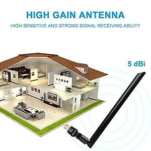 1200Mbps Wireless USB Wifi Adapter, FayTun USB Wifi Adapter,AC1200 Dual Band 2.4GHz/300Mbps+5GHz/867Mbps,802.11 ac/a/b/g/n 5 dBi High Gain Antenna, USB Wi-Fi Dongle for Windows XP/7/8/10,MAC,OSX