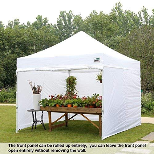 Eurmax 10×10 Ez Pop Up Canopy Outdoor Canopy Instant Tent with 4 zipper Sidewalls and Roller Bag,Bouns 4 weight bags (White)
