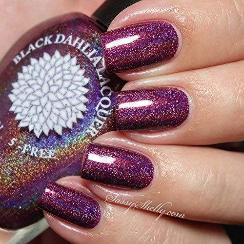 Berry Birthday | Deep Berry Holo Nail Polish with Holo Flakies | by Black Dahlia Lacquer