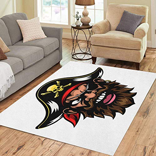 Semtomn Area Rug 2' X 3' Face Cartoon Mean Tough Looking Pirate Sports Mascot Character Home Decor Collection Floor Rugs Carpet for Living Room Bedroom Dining Room -