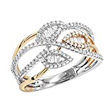Ladies Unique 14K Two-Tone Gold Diamond Band Leaf Ring 0.6ctw (White-Rose, Size 6.5)