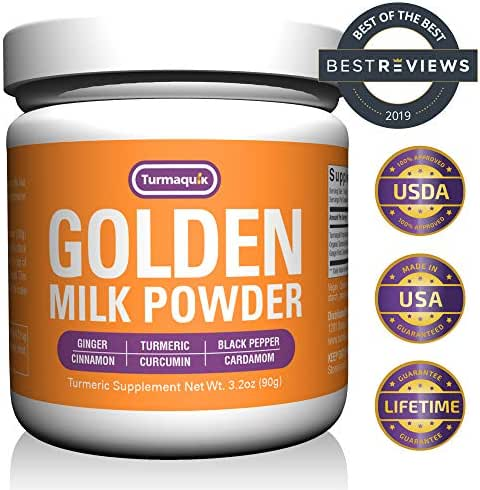 Golden Milk Powder (90 Servings) Turmeric 6 Superfood Blend- Non-GMO Vegan Keto