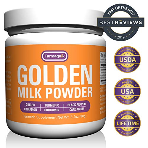 Golden Milk Powder (90 Servings) Turmeric 6 Superfood Blend - Non-GMO, Vegan Turmeric and Curcumin Super Blend - Drink Mix Formulated for Max Absorption