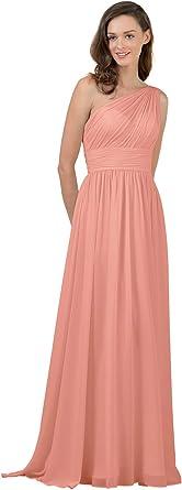 Alicepub One Shoulder Bridesmaid Dress Chiffon Long Maxi Formal Dresses for Women Party