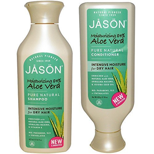 JASON All Natural Organic Aloe Vera Shampoo and Conditioner Bundle with Dry Hair Treatment Product, Calendula, Chamomile and Grapefruit, No Sulfates, No Parabens, Vegan, 16 fl oz each (Jr Watkins Aloe And Green Tea Shampoo)