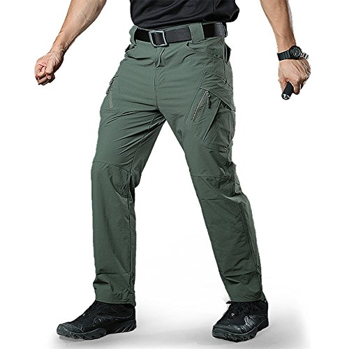 - TACVASEN Men's Military Ripstop Multi Pockets Slim Fit Climbing Hiking Hunting Cargo Pants Trousers Green