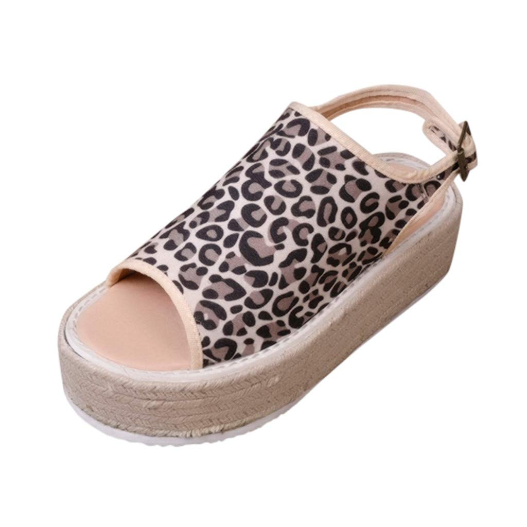 Women Peep Toe Platform Sandals - Fashion Leopard Flats Thick Bottom Adjustable Strap Buckle Slingback Shoes by Clearance Dacawin-Sandals