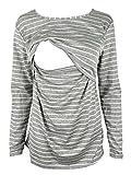 Breastfeeding Shirt Long Sleeve Maternity Breastfeeding and Nursing Tops (XL, Gray)