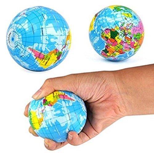 Fun Toys,JUNKE 1PC Stress Relief World Map Foam Ball Atlas Globe Palm Ball Planet Earth Ball Slow Rising Cute Toys (76mm, - Stress Pen Globe Ball