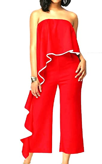 2a88078de69 Winwinus Women Word Shoulder Ruffled Ankle Length Palazzo Jumpsuits Red XS