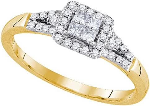 14kt Yellow Gold Womens Princess Diamond Square Frame Cluster Ring 1/3 Cttw