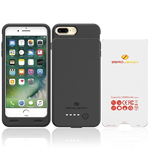 """iPhone 8 Plus/7 Plus Battery Case, ZeroLemon iPhone 8 Plus/7 Plus 10000mAh Extended Battery with Soft TPU Full Edge Protective Case for iPhone 8 Plus/7 Plus 5.5"""" [Apple Certified Connector] – Blac"""