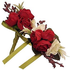Evniset 2pcs Bride Groom Wrist Corsages and Boutonnieres Set Wedding Flowers (Red) 64