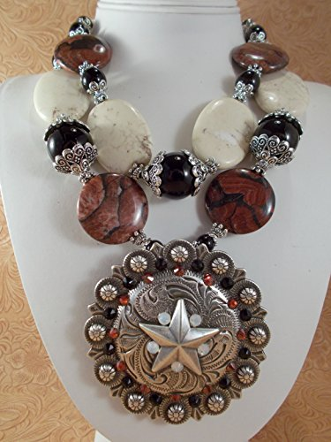 Chunky Western Cowgirl Necklace Set - Red Jasper Black Agate and Howlite - Concho Pendant