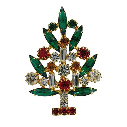 Brooch Swarovski Christmas Tree (Christmas Tree Vintage Inspired Holiday Gift Brooch pin HandCrafted with the finest genuine Swarovski crystals RSP2206)