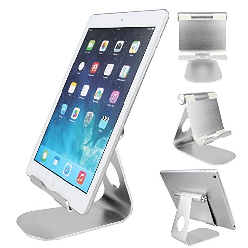 Universal Silver Aluminum Anti-Slip Portable Support Holder Stand for Tablet Phone