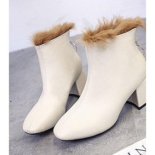 ZHZNVX HSXZ Zapatos de Mujer Invierno PU Confort Forro Fur Bootie Botas de Tacón Chunky Round Toe Botines/Botines para Vestimenta Casual Blanco y Negro,Blanco,US7.5/UE38/UK5.5/CN38 38 EU