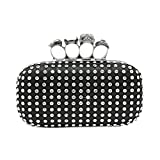 Bagood Women's Rhinestones Square Shape Skull Knuckles Evening Bag Hard Case Clutches Purses