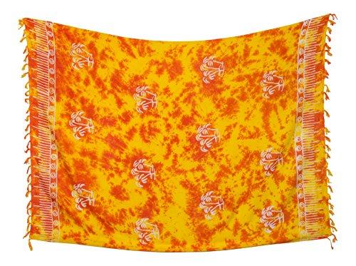 Kascha Trading - Camisola - para mujer Palme Rot Gelb Batik