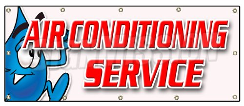 "48""x120"" AIR CONDITIONING SERVICE BANNER SIGN ac cooling air cold maintenance"