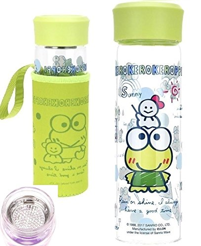 Keroppi Lead Free Glass Tea Filter Water Bottle Tolerate -10°C to 400°C with Sleeve 15.5oz