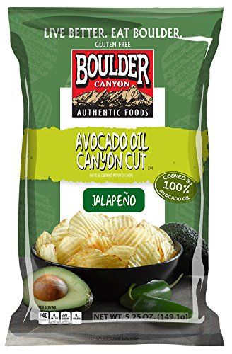 Boulder Canyon Kettle Cooked Potato Chips, Avocado Oil Canyon Cut, Jalapeno, 5.25 Ounce (Pack of