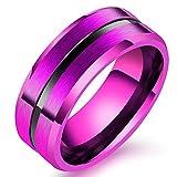 SAINTHERO Men's Women's Basic Wedding Bands 8MM Titanium Steel Lovers Promise Rings Matte Finish Beveled Polished Edge Comfort Fit Purple Size 10
