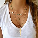 QTMY Gold Turquoise Multilayer Necklaces For Women Feather Shape Multilayers Charm Beads Pendant Necklace Jewelry