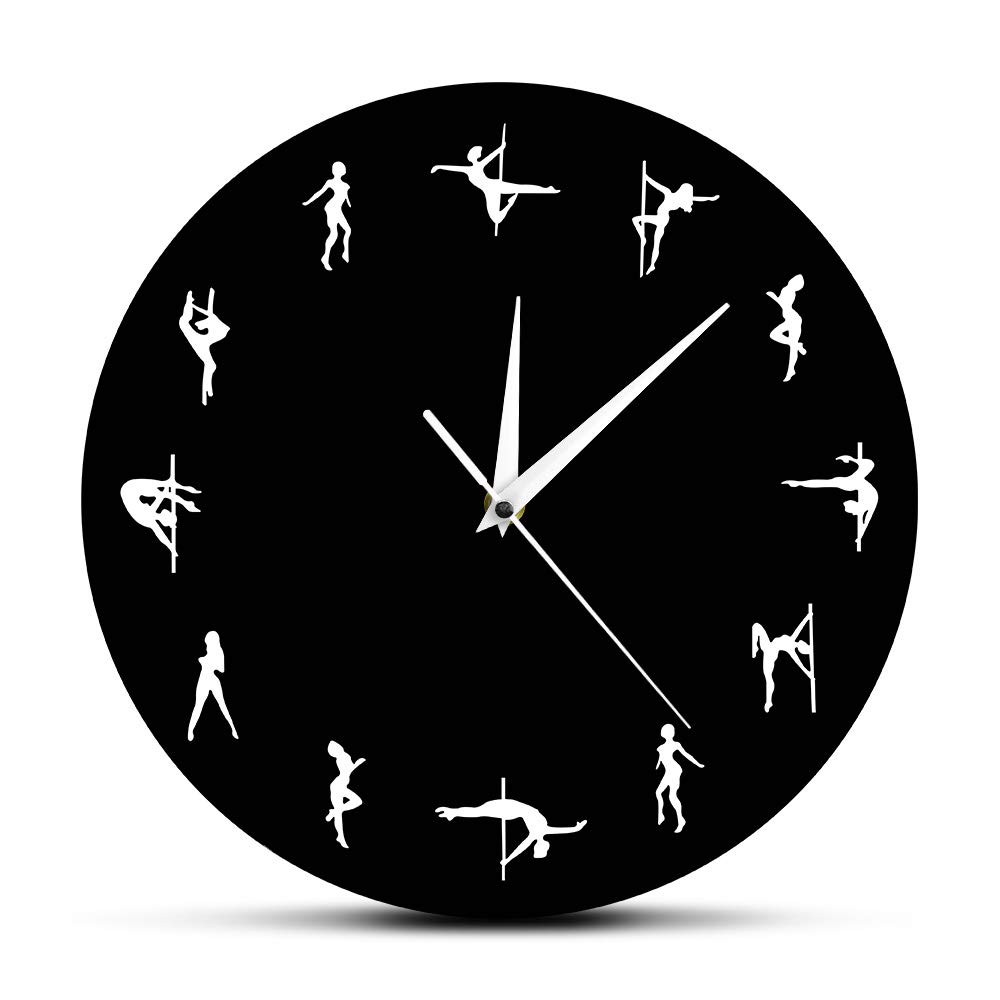 The Geeky Days Pole Dance Wall Clock Pole Dancing Modern Silent Clock Pole Dancer Gift for Her Steal Tube Dancing Wall Art Decorative Time Clock