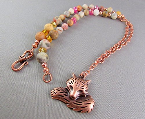 Copper Fox Pendant with Mookaite Jasper Stone Handmade Necklace and (Fox Coral Necklace)