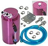 Purple Universal Aluminum Racing Oil Catch Tank Round Can Reservoir Turbo Engine 750ml